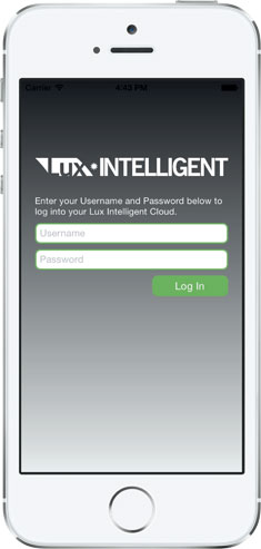 Lux Intelligent Mobile App Login Screen